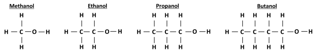The structue of the first four alcohols