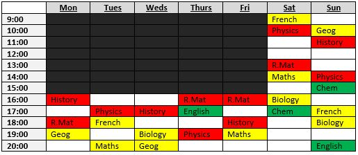 Exam Revision Timetable